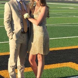 sherri hill gold dress, short, prom dress